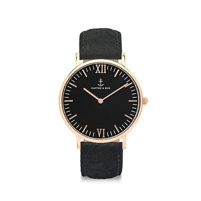 KAPTEN & SON KAPTEN & SON Horloge | CAMPINA | ALL BLACK VINTAGE | ROSE GOLD
