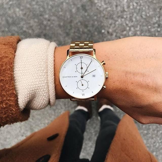 KAPTEN & SON Horloge | CHRONO | GOLD Steel | 40 MM Lovable
