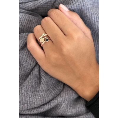 MIAB Jewels MIAB Ring | Rose Goud | Black Stone