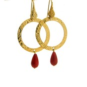 LILLY LILLY Oorbellen   Tumbled Circle Stonedrop   Verguld   Red
