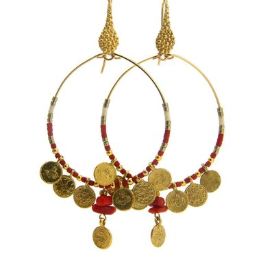 LILLY LILLY Oorbellen | Coincharm L gold | Red | 18 Karaats | SS19