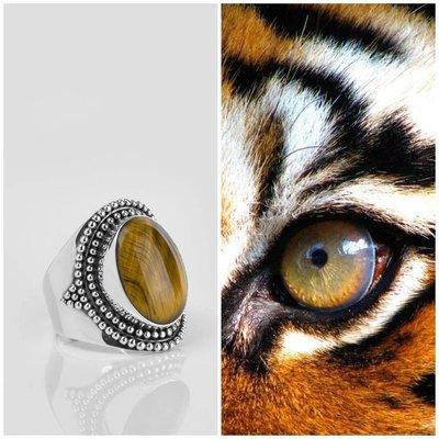YMALA YMALA Ring | 925 Zilver | TIJGEROOG edelsteen | YM-0002