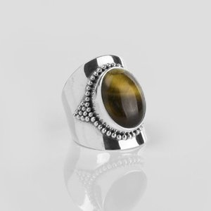 YMALA YMALA Ring | 925 Zilver | TIJGEROOG edelsteen