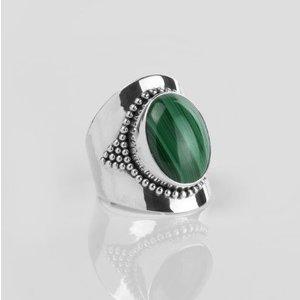 YMALA YMALA Ring | 925 Zilver | Malachiet edelsteen
