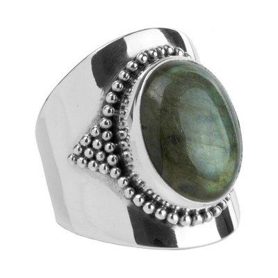 YMALA YMALA Ring | 925 Zilver | Labradoriet edelsteen | YM-0005