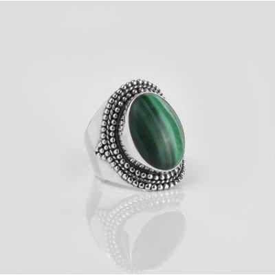YMALA YMALA Ring   925 Zilver   Malachiet edelsteen   YM-0007