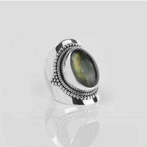 YMALA YMALA Ring | 925 Zilver | Labradoriet edelsteen