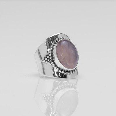 YMALA YMALA Ring | 925 Zilver | Rozenkwarts edelsteen | YM-0024