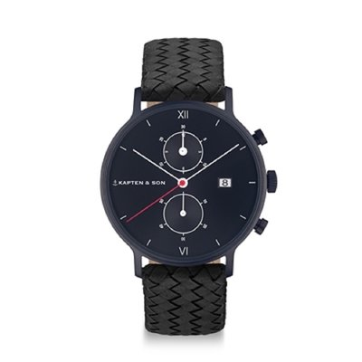 KAPTEN & SON KAPTEN & SON Horloge | CHRONO | BLACK MIDNIGHT WOVEN