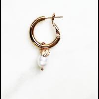 BY NOUCK BY NOUCK Earrings | HOOPS MINI SHELL PEARL | GOLD