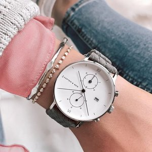 KAPTEN & SON KAPTEN & SON Horloge | CHRONO | SILVER GREY WOVEN LEATHER