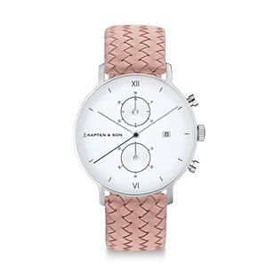 KAPTEN & SON KAPTEN & SON Horloge | CHRONO | SILVER ROSE WOVEN LEATHER
