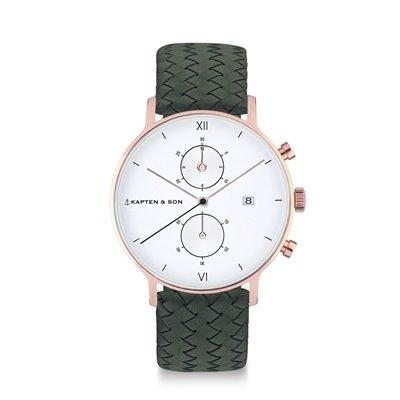 KAPTEN & SON KAPTEN & SON Horloge | CHRONO | PINE GREEN WOVEN LEATHER