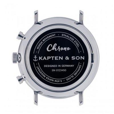 KAPTEN & SON KAPTEN & SON Horloge | CHRONO | SILVER PINE GREEN WOVEN LEATHER