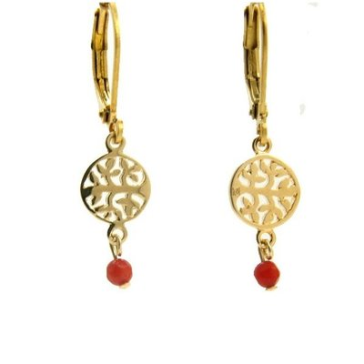 LILLY LILLY Oorbellen | Tree of Life Gold | Red | 14 Karaats