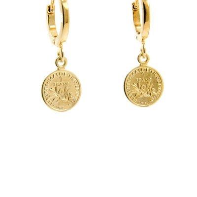 LILLY LILLY Oorbellen | Mini Franc Gold | 18 Karaats