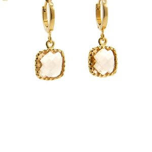 LILLY LILLY Oorbellen | Square Crystal Small Gold | Champagne | 14 Karaats