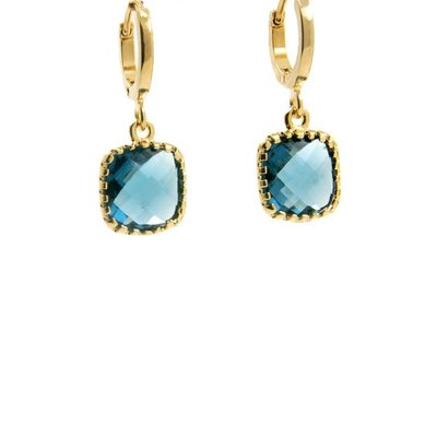 LILLY LILLY Oorbellen | Square Crystal Small Gold | Blue | 14 Karaats