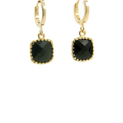 LILLY LILLY Oorbellen | Square Crystal Small  | Verguld | Black