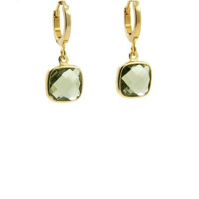 LILLY LILLY Oorbellen   Square Crystal Small Gold   Army Green   14 Karaats