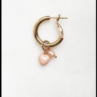 BY NOUCK BY NOUCK Earrings   HOOPS SOFT PINK PEARL   VERGULD