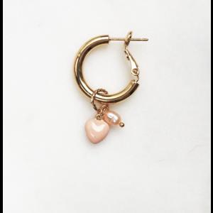 BY NOUCK BY NOUCK Earrings | HOOPS SOFT PINK PEARL | VERGULD