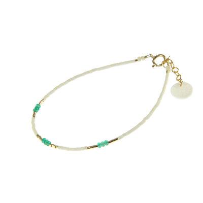 BLINCKSTAR BLINCKSTAR Armband | Goldfilled | Wit | Groen | 1901A25