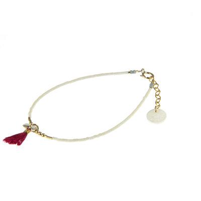 BLINCKSTAR BLINCKSTAR Armband | Goldfilled | Wit | Rood Kwastje | 1901A30