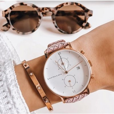 KAPTEN & SON KAPTEN & SON Horloge | CHRONO | ROSE WOVEN LEATHER