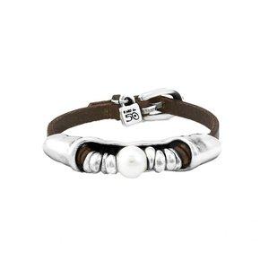 UNOde50 UNOde50 Armband | DESERTED | ZILVER | Parel | Leer