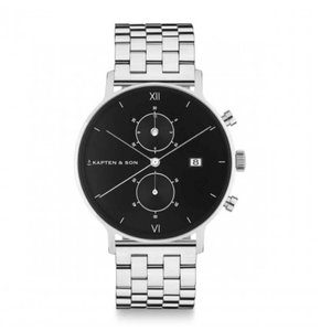 KAPTEN & SON KAPTEN & SON Horloge | CHRONO | ZILVER BLACK | 40 MM