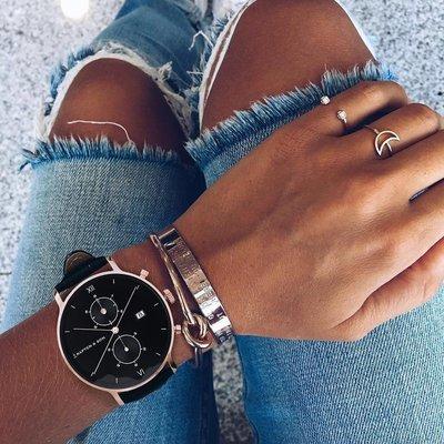 KAPTEN & SON KAPTEN & SON Horloge   CHRONO   ROSE GOLD   ALL BLACK WOVEN