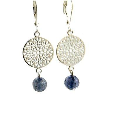 LILLY LILLY Oorbellen - Filli Medium Silver | Sapphire | Zilver
