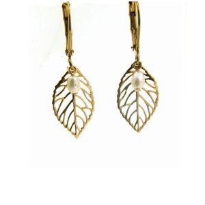 LILLY LILLY Oorbellen | Little Leaf Gold | Pearl | 14 Karaats