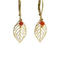 LILLY LILLY Oorbellen | Little Leaf Gold | Red | 14 Karaats