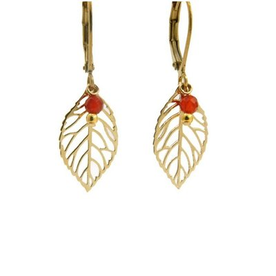 LILLY LILLY Oorbellen | Little Leaf Gold | Red | 14 Karaats