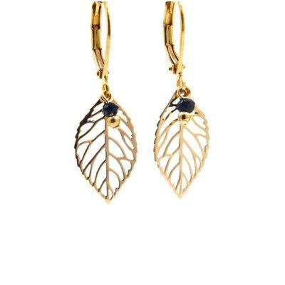 LILLY LILLY Oorbellen | Little Leaf Gold | Onyx | 14 Karaats