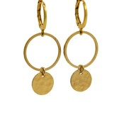 LILLY LILLY Oorbellen | Ring Tumbled Coin M Gold | 18 Karaats