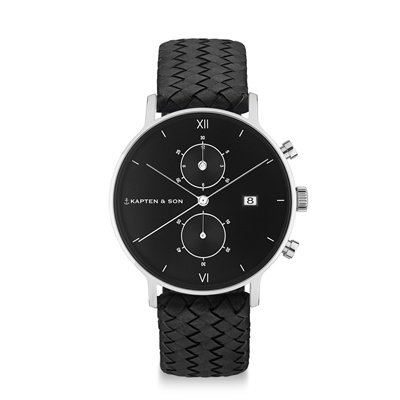 KAPTEN & SON KAPTEN & SON Horloge | CHRONO | ALL BLACK | WOVEN LEATHER | 40 MM