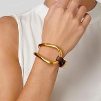 UNOde50 UNOde50 Armband   BITE   VERGULD   Leer   Uniek Design