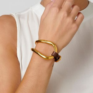 UNOde50 UNOde50 Armband | BITE | VERGULD | Leer | Uniek Design