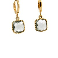 LILLY LILLY Oorbellen | Square Crystal Small | Verguld | Grey