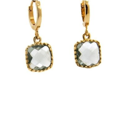 LILLY LILLY Oorbellen | Square Crystal Small Gold | Grey | 14 Karaats