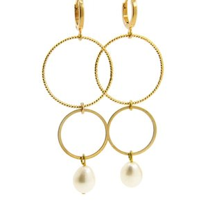 LILLY LILLY Oorbellen | Ringsister Stone Gold | Pearl | 14 Karaats
