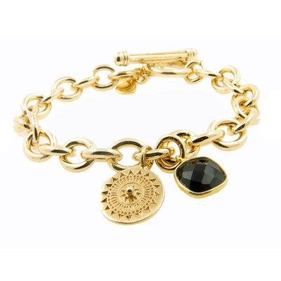 LILLY LILLY Armband | Big Links Bali Square Stone | Onyx | 18 Karaats