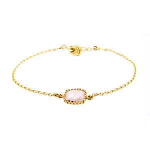 LILLY LILLY Armband | Square Crystal | Verguld | Pink