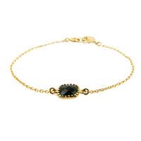 LILLY LILLY Armband | Square Crystal Gold | Black Onyx | 14 Karaats