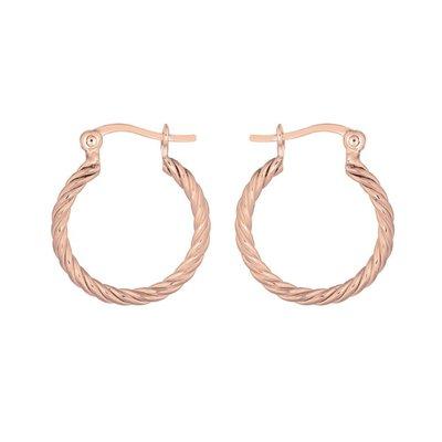 MIAB Jewels MIAB Oorbellen | Rose Goud | Turned Ring | 14k Rose Goud Vermeil