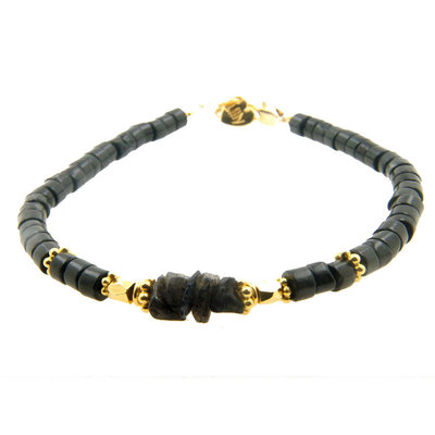 LILLY LILLY Armband | Big Beads Indian Style Gold | Black