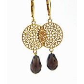 LILLY LILLY Oorbellen | Filli Large Gold | Smokey Quartz | 14 Karaats